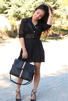 sheer black blouse . skirt . all black