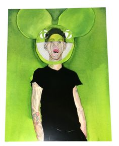 Deadmaus5 Wearing Mask Neon Green Watercolor artist print 8.5x11, Joel Thomas Zimmerman As Dead Maus Ink Painting Print in Plastic Sleeve by MariaOglesbyArt on Etsy