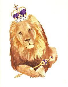 Lion Print, leo, lion, leo birthday gift, king, leo lion, leo zodiac, whimsical lion. $18.00, via Etsy.