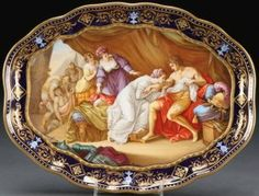 A LARGE ROYAL VIENNA HAND PAINTED PORCELAIN TRAY