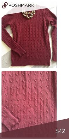 EUC j crew burgundy Cambridge cable crewneck This j crew crewneck features Cambridge cable, long sleeves, a deep burgundy and is in EUC! Just dry cleaned and ready for a new home! No care tag. Smoke free home with pets. J. Crew Sweaters Crew & Scoop Necks