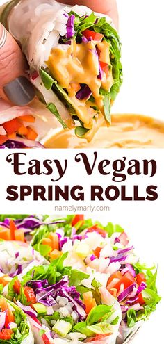 Want the BEST light and healthy dish? These vegan spring rolls LOADED with lots of flavor thanks to lots of veggies and a tasty vegan peanut sauce. Serve this VIBRANT, healthy dish for lunch, snacks, or dinner. #veganspringrolls #springrolls #veggiespringrolls #namelymarly