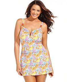Fit 4 U Plus Size Swimsuit, Spaghetti-Strap Floral-Print Swim Dress - Plus Size Swimwear - Plus Sizes - Macys