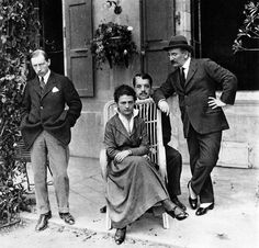 Diaghilev (center), with Igor Stravinsky (left), Léon Bakst, and Natalia Gontcharova. Switzerland, 1915.