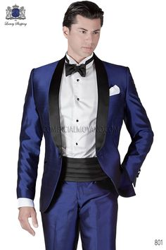 Italian bespoke blue tuxedo suit in silk shantung fabric with black satin contrast shawl lapel and one button closure, style 801 Ottavio Nuccio Gala, 801 Emotion collection. Men's Tuxedo Wedding, Black Suit Wedding, Wedding Men, Wedding Suits, Wedding Attire, Wedding Ideas, Tuxedo Suit For Men, Groom Tuxedo, Mens Suits