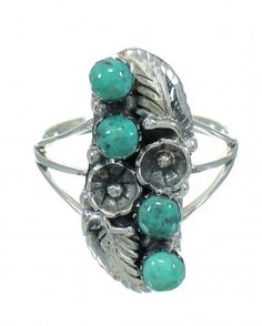 Sterling Silver And Turquoise Southwestern Flower Ring Size 6-1/2 YX81060-1