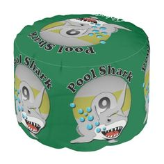 """Nine Ball Pool Shark Round Pouf - $140.00 - Nine Ball Pool Shark Round Pouf - by #RGebbiePhoto @ zazzle - #pool #billiards #shark - Nine ball from a Billiards set, rendered in 3D. """"Pool Shark"""" in bold letters above 9 ball with illustrated great white shark, teeth showing. Great for budding pool players and sharks alike!"""
