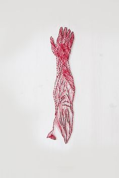 Alan Dindo — In Your Arms, wood, thread, nails, 2012