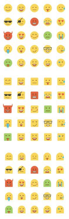 Set of Flat Design Emoji  by Creative Graphics on Creative Market