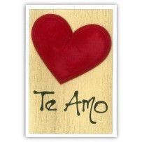 Cartão Romântico Artesanal Te amo dourado