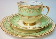 Roslyn Vintage English Fine Bone China Tea Set Tea Cup Trio Green Gold | eBay