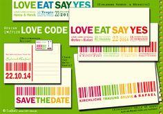 ♀♥♂7128 Love Eat Say Yes ■ Love Code Einladung - ■ Hochzeit & JGA von zelka - Einladungskarten - Hochzeit - DaWanda    Love, Eat, say YES!