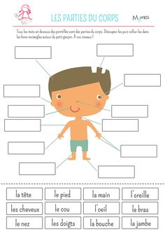 BETTER IDEA-Let the students draw their own body like crime scenes on large paper and label their body parts.French Parts of the Body Cut and Paste Worksheet: Les parties du corps French Teaching Resources, Teaching French, French Language Lessons, French Lessons, French Body Parts, French Worksheets, Kids Worksheets, Printable Worksheets, Free Printable