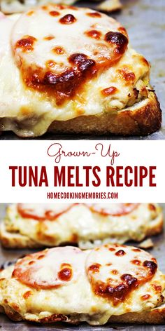 Easy dinner idea! This Grown-Up Tuna Melts recipe uses banana peppers, sourdough bread, provolone cheese, tomatoes & more.