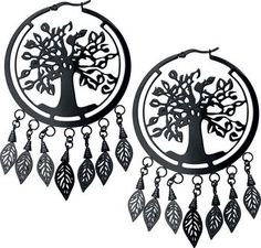 Wildcat - Tree of Life Earrings - big black hoops with Tree of Life design on the inside and 7 hanging leaves - diameter: 5.7 cm - bar thickness 1.2 mm - delivered as a pair - wearable as earrings or as a pendant for a tunnel - made of coated, scratchproof stainless steel - super skin-compatible - suitable for allergy sufferers In the big, black creoles sits the powerful Tree of Life and underneath the creoles are hanging leaves. Wildcat created with this design some fancy earrings, but...