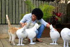 Me, my cat and my paper mache chickens