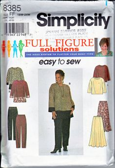 Size Misses' Easy Plus Size Sewing Pattern - Long Sleeve Top Pattern - Pull On Pants & Pull On Tunic Sewing Patterns, Plus Size Sewing Patterns, Simplicity Sewing Patterns, Clothes Patterns, Sewing Hacks, Sewing Projects, Sewing Ideas, Full Figured, Top Pattern
