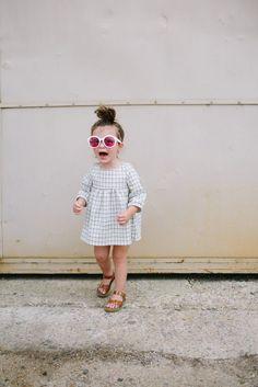 the Mini Dress in Grid – ewmccall  Girls Mini Dress| Girls Fashion| Toddler Fashion| Handmade Clothes| Grid pattern| Mod Fashion| Boho Kids| Bohemian Kids Style| Summer Dress| Ewmccall|