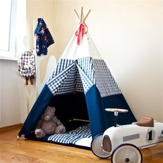 New teepee set in our shop. Canvas Teepee Tent, Childrens Teepee, Teepee Play Tent, Kids Teepee Tent, Childrens Gifts, Teepees, Kids Wigwam, Baby Tent, Blue Canvas
