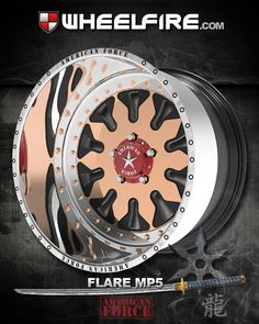 """Looking sharp my Ninja! American Force FLARE MP5 deep dish wheels. These custom built to order forged wheels are made of T-6061 Aluminum, built for trucks in mind with 11mm thick walls, 30 ARP stainless steel M10 bolts, keeping both forged halves tightly together. AVAILABLE SIZES: 24""""X14"""", 24""""X16"""", 26""""X14"""", 26""""X16"""" Jump up like a Ninja and call us for details: 866.450.3473 or log on to our site www.WheelFire.com"""