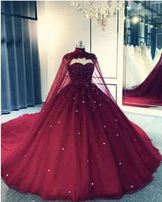 Tulle Ball Gown Wedding Dress With Cape,prom dress Making A Wedding Dress, V Neck Wedding Dress, Sweetheart Wedding Dress, Gown Wedding, Tulle Wedding, Church Wedding, Formal Wedding, Wedding Dress Necklines, Maroon Wedding
