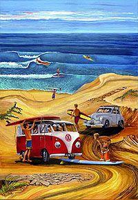 Showcase of surf art by Australian surf artist Garry Birdsall on Club Of The Waves Volkswagen, Vw T1, Vw Beach, Beach Art, Bus Art, Vw Vintage, Surfing Pictures, Skateboard Design, Hippie Art