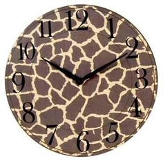 "Amazon.com: Giraffe Print Wooden Clock (7""): Home & Kitchen"