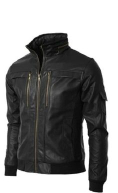 Men leather jacket men stand collar leather by Myleatherjackets, $149.99
