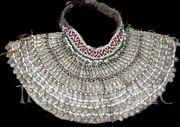 Vintage Hazara tribal collar choker with fabric backing.