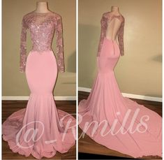 O Neck Long Sleeves Prom Dresses 2019 Sexy Pink Open Back Evening Party Gowns Arabic Party Gowns Special Occasion Gowns, Prom Dresses Long Pink, Prom Dresses Long With Sleeves, Prom Dresses 2018, Backless Prom Dresses, Mermaid Prom Dresses, Cheap Prom Dresses, Party Dresses, Pink Dresses, Grad Dresses