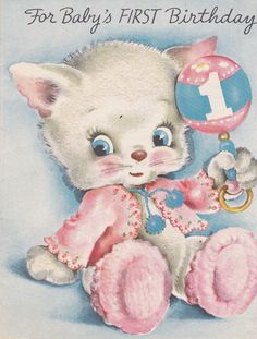 For Baby's First Birthday Fuzzy Kitty by EphemeraObscura on Etsy