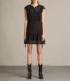 ALLSAINTS Star Embroidered Sleeveless Dress. #allsaints #cloth #
