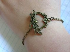 Dragonfly clasp fastened bronze bracelet on Etsy, £4.50