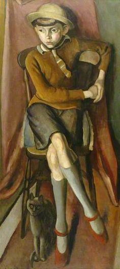 Boy with a Cat by Bernard Meninsky Date painted: 1925 Oil on canvas, 123.5 x 55.5 cm Collection: Brighton and Hove Museums and Art Galleries