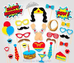 Superhero Action Party Photo Booth Props or Superhero cake toppers - Printable - Tons of Fun! Wonder Woman Birthday, Wonder Woman Party, Birthday Woman, Women Birthday, Anniversaire Wonder Woman, Superhero Cake Toppers, Girl Superhero Party, Birthday Photo Booths, Photo Booth Props