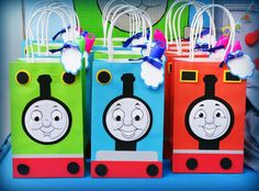 Fun favor bags at a Thomas the Tank Engine boy birthday party! See more party ideas at CatchMyParty.com!