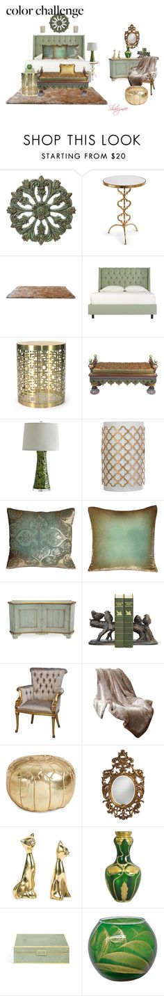 """""""Color Challenge: Green & Gold"""" by sharizmee ❤ liked on Polyvore featuring interior, interiors, interior design, home, home decor, interior decorating, Regina-Andrew Design, Gold Sparrow, Jonathan Adler and MacKenzie-Childs"""