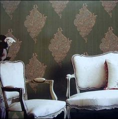 358.00$  Buy here - http://ais3b.worlditems.win/all/product.php?id=32497617867 - New fashion classical Dark olive green, Bronze, wrought iron background wallpaper VISUS fabric wall stickers vintage waterproof