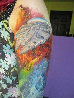 millineum falcon tattoo | wars tattoo #millenium falcon #rosette nebula #millenium falcon tattoo ...