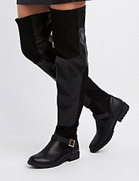 427b4c3d8 BlackFaux Nubuck Buckled Over-The-Knee Boots Faux Suede Fabric, Comfy Shoes,
