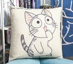 Throw Pillow Case Cotton linen Sofa Cushion Cover Home Decor Cat Emotion 45cm