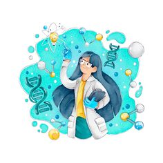 Female scientist with long hair and glas. Medical Laboratory Science, Science Student, Science Icons, Science Art, Biology Art, Biology Lessons, Chemistry Art, Medical Wallpaper, Science Background