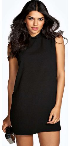 boohoo Anya High Neck Woven Shift Dress - black azz18112 Get cocktail-ready in this classic shift dress , updated with a high neck for a new season vibe! Style it with heels , an embellished clutch and hoop earrings . http://www.comparestoreprices.co.uk/dresses/boohoo-anya-high-neck-woven-shift-dress--black-azz18112.asp