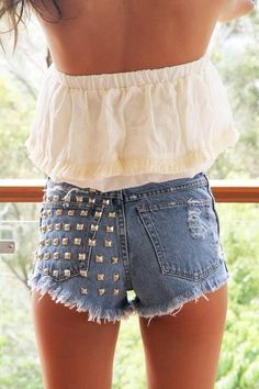 half studded frayed shorts. Love the shape it gives the butt!
