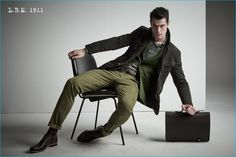 Andy Walters dons green tailored fashions from L.B.M. 1911's fall-winter 2016…