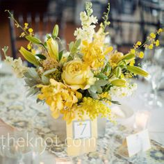 yellow and white wedding table flowers | Yellow Floral Centerpieces