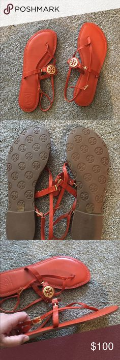 Tory Burch Sandals Tory Burch burnt orange thong sandals with gold emblem. Great condition, only worn a few times. Tory Burch Shoes Sandals