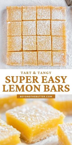 """These Super Easy Lemon Bars combine a tart and tangy lemon curd filling with a buttery, shortbread crust. Made in an 8"""" x 8"""" baking pan, they make the perfect citrus-y treat to enjoy with family, friends, or coworkers!   BeyondtheButter.com   #lemons #lemonbars #beyondthebutter #lemondesserts Lemon Dessert Recipes, Fun Baking Recipes, Easy Desserts, Sweet Recipes, Cookie Recipes, Delicious Desserts, Yummy Food, Lemon Recipes Easy, Lemon Curd Dessert"""