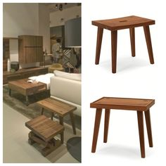 Riva 1920, made in Italy in solid wood: Bonanza side table, project by C. R. & S. Riva.