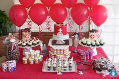 Nursing School Graduation {Dessert Table} A party is definitely in order after many grueling years of hard work! A medical/nursing school themed party will do… Nurse Grad Parties, Nurse Party, School Parties, Retirement Parties, Graduate School, Nursing School Graduation, Medical School, Graduation Desserts, Graduation Party Decor